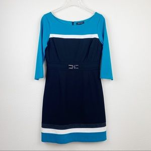 WHBM Colorblock Ponte Knit Career Shift Dress 8